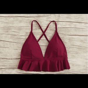 Red frills bikini top